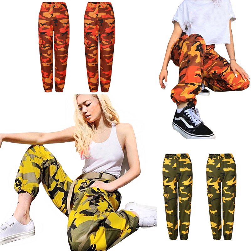 2019 Fashion Womens Orange Camo Cargo Trousers Casual Pants Woman Military Army Combat Camouflage Jogger Pants for women cargo