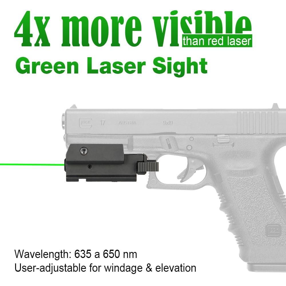 Canis Latrans Pistolet Tactique Vert Visée Laser avec 20mm Système De Montage pour 21.2mm Picatinny Rail Weaver Chasse PP20-0018