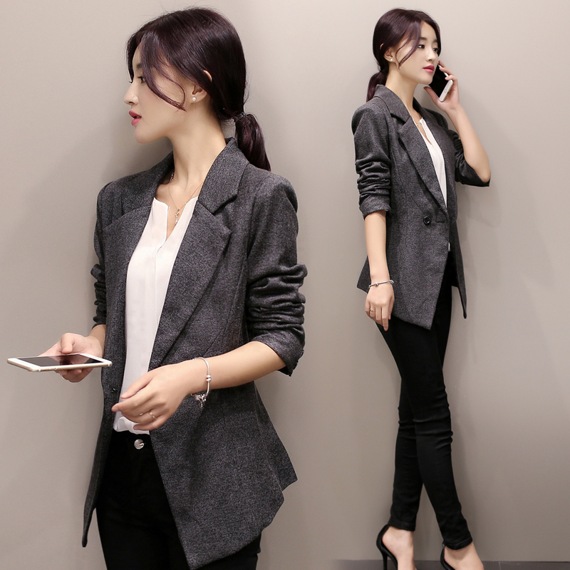 83d2f4c1a54 New 2017 Women Blazer Suits Slim Coat Autumn Long Sleeve Black ...
