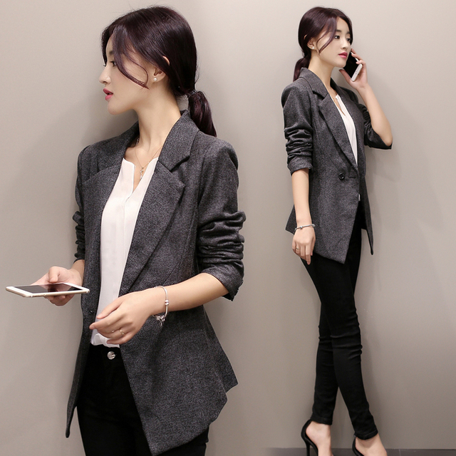 b95f8511bbb New 2017 Women Blazer Suits Slim Coat Autumn Long Sleeve Black  Double-Breasted OL Spring