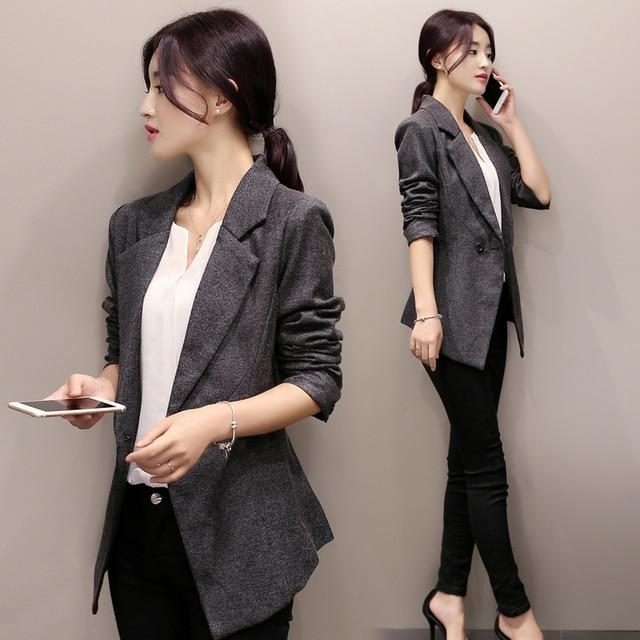 dd32b3ee901 New 2017 Women Blazer Suits Slim Coat Autumn Long Sleeve Black  Double-Breasted OL Spring