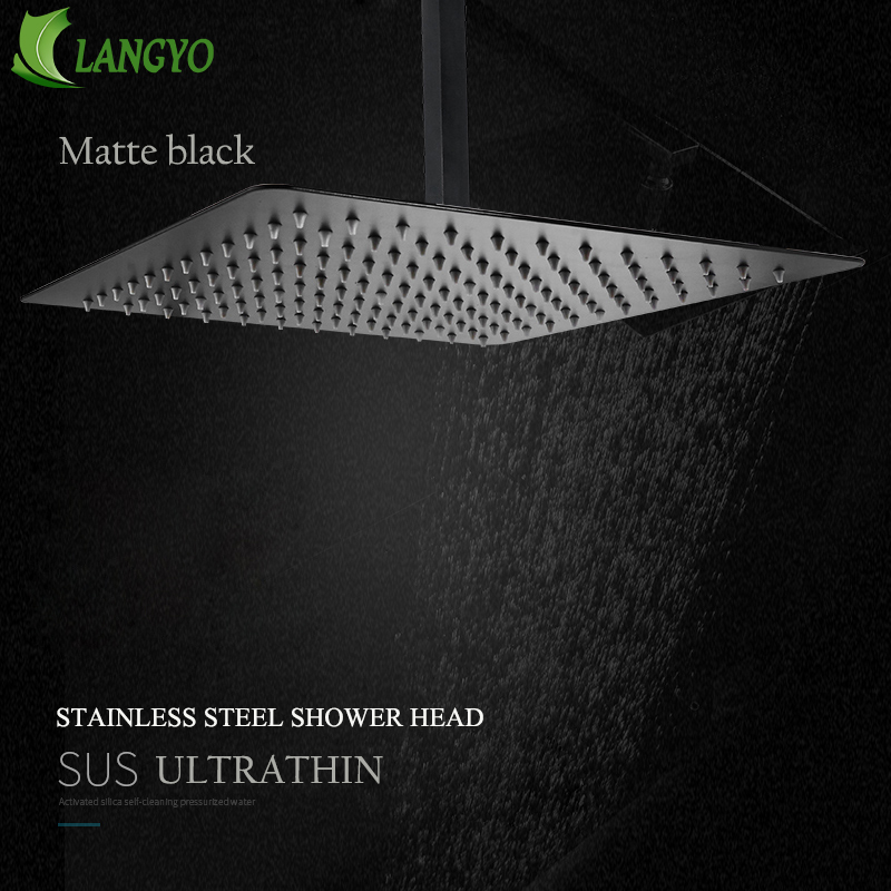 Black Square Rain Stainless Steel Shower Head Ultrathin 2 mm 16inch Choice Bathroom Wall & Ceiling MountedBlack Square Rain Stainless Steel Shower Head Ultrathin 2 mm 16inch Choice Bathroom Wall & Ceiling Mounted