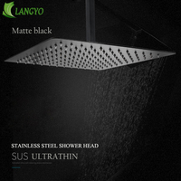 Black Square Rain Stainless Steel Shower Head Ultrathin 2 mm 16inch Choice Bathroom Wall & Ceiling Mounted