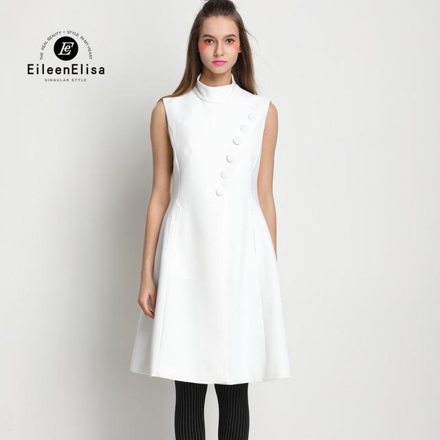 Runway Brand Dress 2017 Sleeveless A Line Dresses Women White Women