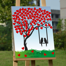 Tree Fingerprint Red Hearts Guest Signature for Wedding Accessories Canvas Guest Book Wood Frame