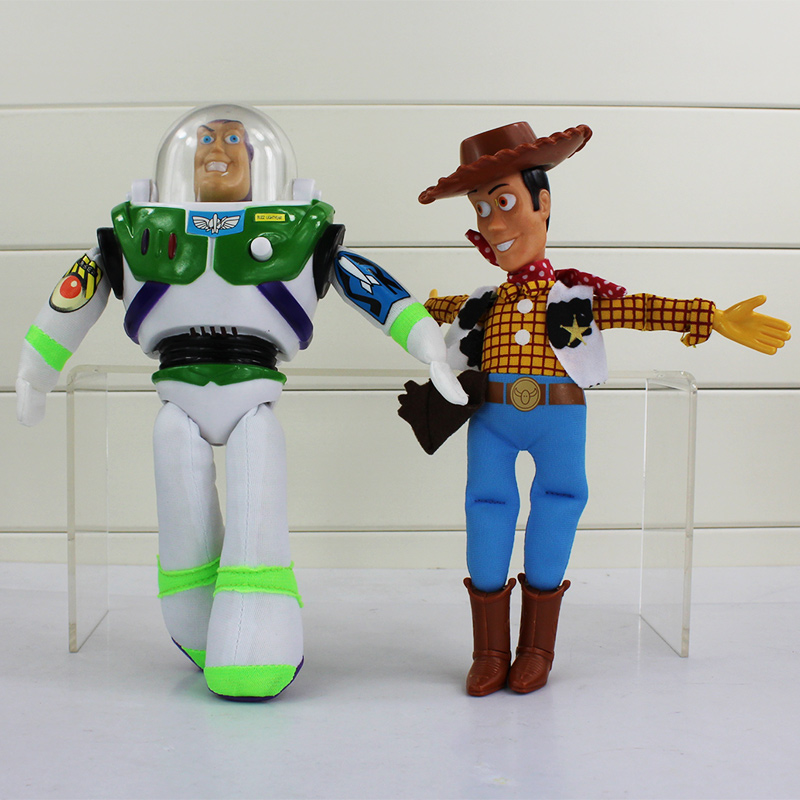 2pcs/set Toy Story 3 Buzz Lightyear Sheriff Woody PVC Marvel Action Figure Model Toys Dolls For Kids 8.7 22cm original toy story 3 buzz lightyear robot light voice elastic wings 30cm action music anime figure kids toys for children p2