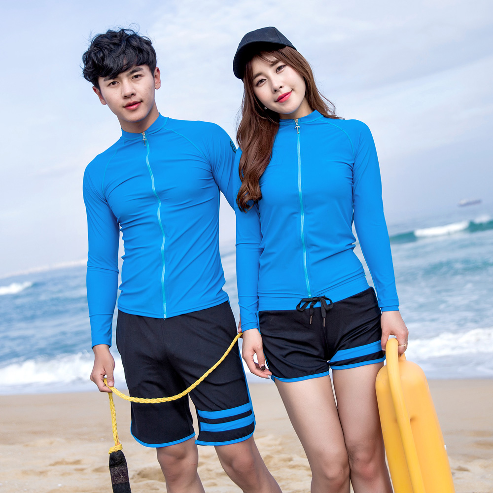2017 Couple Swimsuit Rash Guards Quick Dry Snorkeling Swimwear Wetsuits Short Men Women  ...