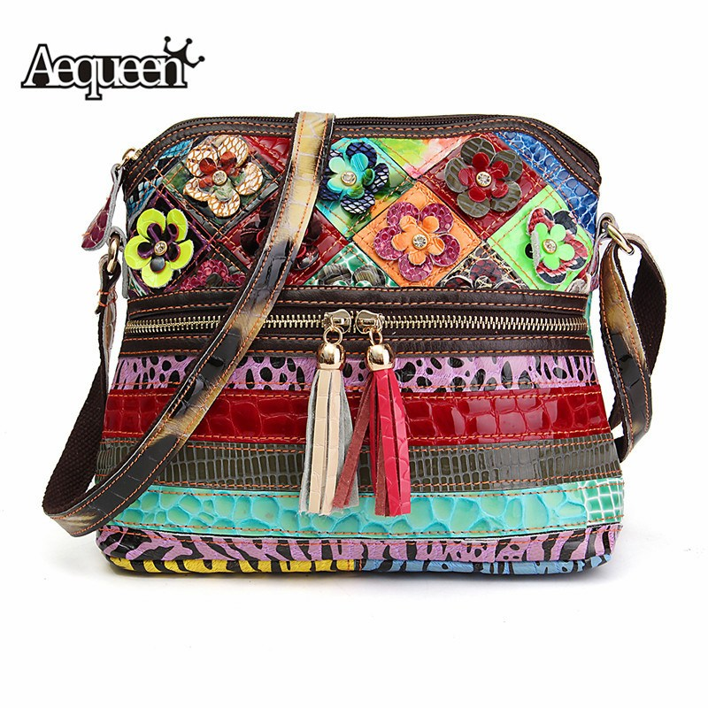 AEQUEEN Genuine Leather Patchwork Handbag Women Tassel Crossbody Messenger Bag Floral Shoulder Bags Random Color Bolsas Feminina мойка кухонная lava l3 790х500 чёрный l3bas