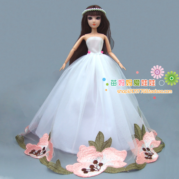 free shipping girl gift toys, large white wedding dress For Barbie doll bride dress present for kids лосьон la biosthetique visalix purifiant