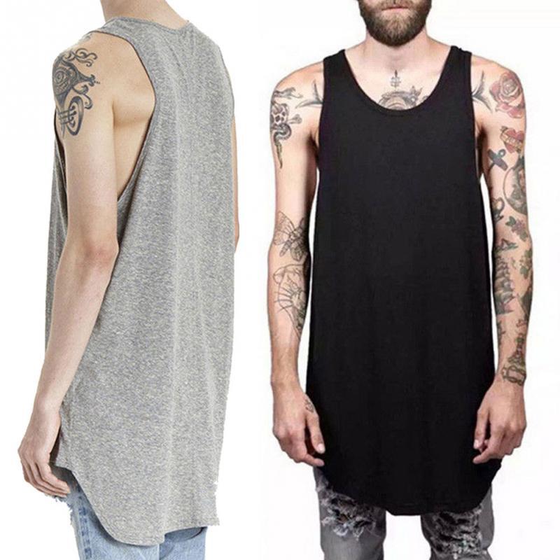 Men Summer Hip Hop Extend Long Tank Top Men's White Vest Fashion Swag Sleeveless Cotton Justin Bieber Solid Tops