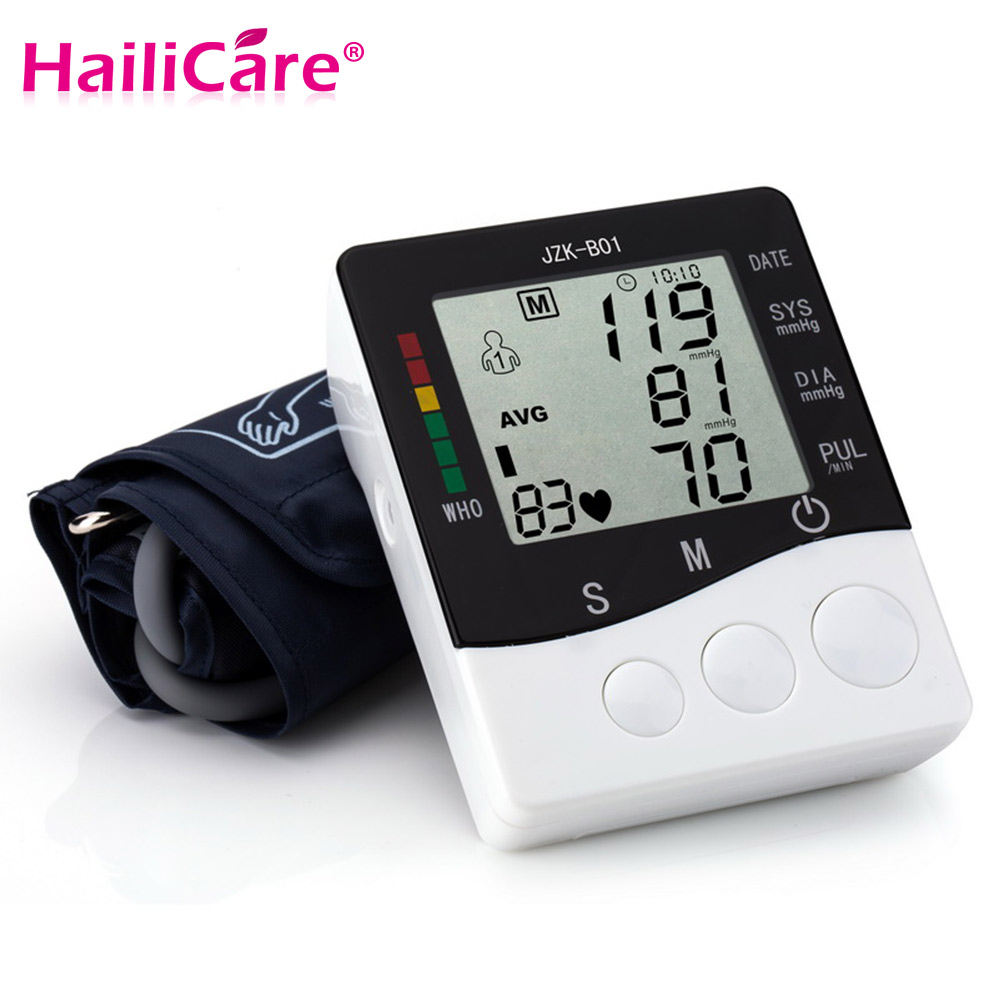Digital Arm Blood Pressure Pulse Monitor Health Care Tonometer Meter Sphygmomanometer Portable LCD Screen Single Tube Nylon Cuff