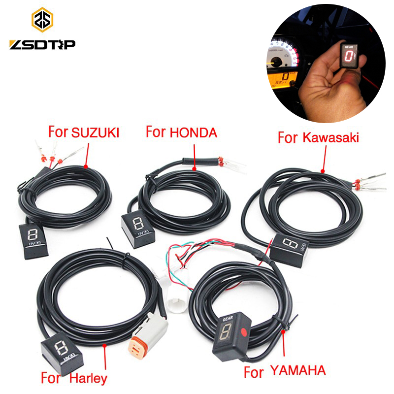 цена на ZSDTRP Ecu Plug Mount 6 Speed Motorcycle Gear Display Indicator 1-6 Level Gear Indicator For Honda Harley Kawasaki Yamaha Suzuki