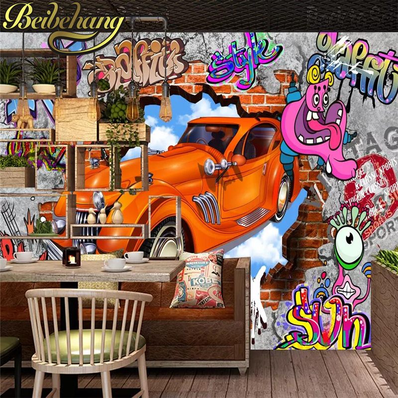 beibehang custom mural papel de parede <font><b>3d</b></font> room <font><b>wallpaper</b></font> Nostalgic retro <font><b>car</b></font> TV setting wall poster photo <font><b>wallpaper</b></font> for walls <font><b>3d</b></font> image