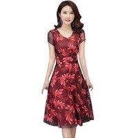 2019 New Women Plus Size 4XL Summer Dress Short Sleeve V Neck Floral Print Chiffon Dresses Elegant Slim A line Party Dress