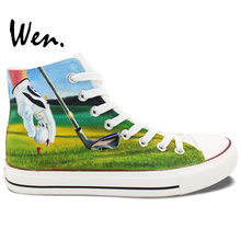 Wen Hand Painted Sneakers Original Design Custom Men Women's Shoes Playing Golf High Top Canvas Shoes