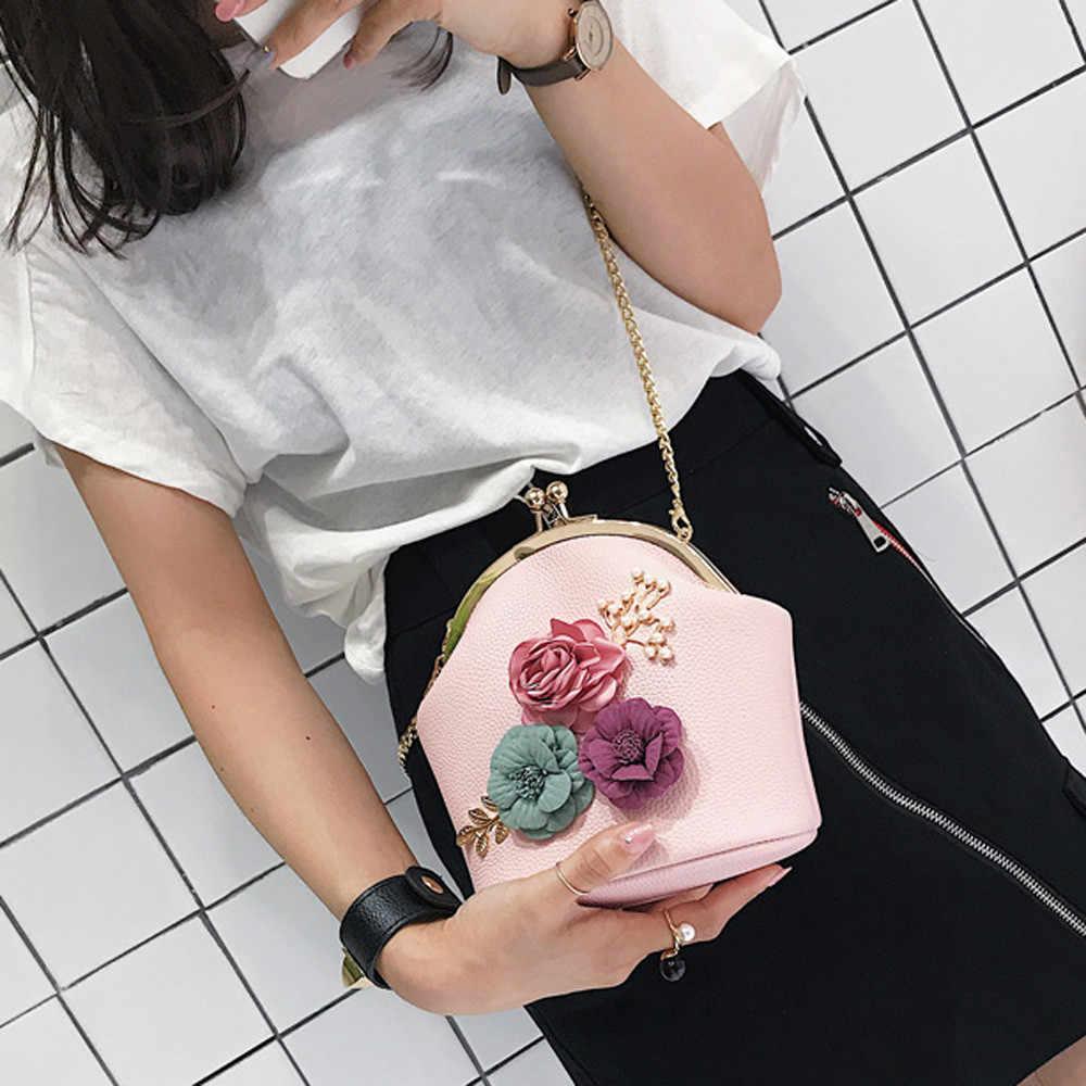 a9575fd9e08c Для женщин моды стерео цветы сумка дамы небольшой Винтаж сумка цепочка для сумки  сумка клатч для