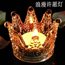 Crown glass candlestick Crystal Ashtray Personality Handwork Mini European ornaments Candles