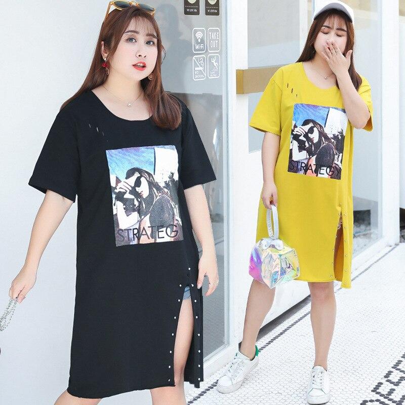 2019 Summer Woman Korean Plus Size Short Sleeve Crewneck Pattern Side Split Rivet Hole Casual Long T Shirt Fashion Streetwear
