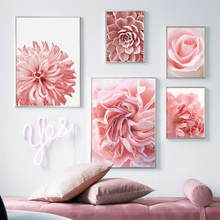 Pink Rose Peony Chrysanthemum Cactus Wall Art Canvas Painting Nordic Posters And Prints Pictures For Living Room Unframed