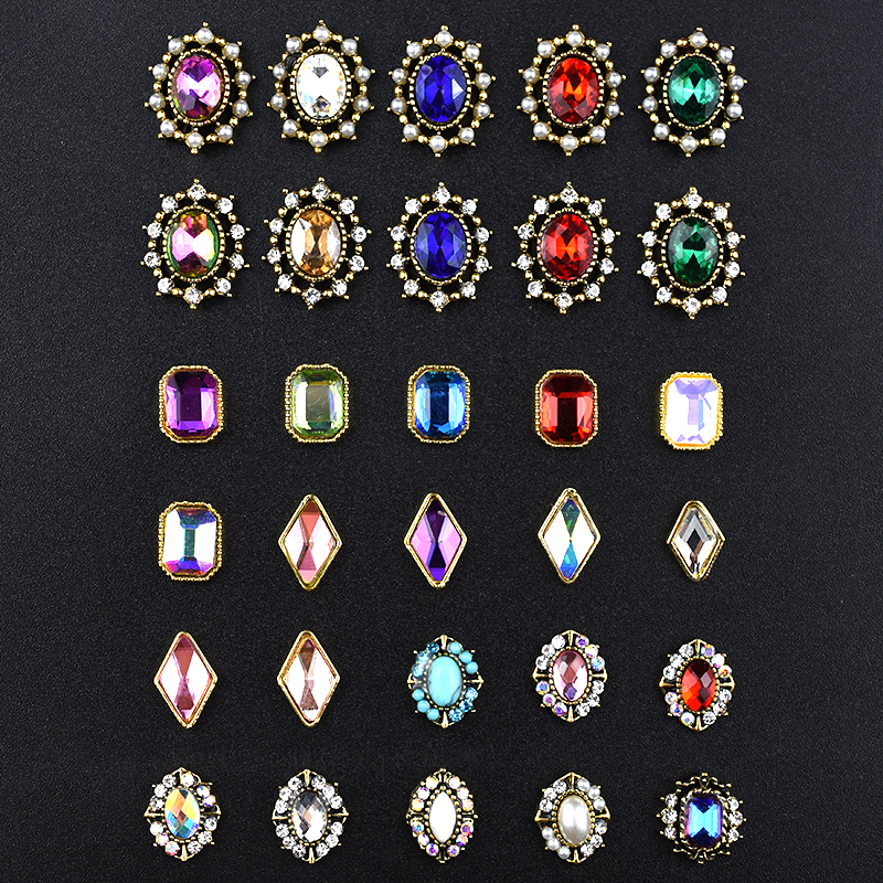 10Pcs Top 3D Rhinestones Charm Nail Art Decorations Crystal Strass Diamond Stones Gem Nail Jewelry Accessoires New Arrival Alloy