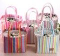 1Piece Color Stripes 25*17CM Convinent Lunch FOOD Box Holder BAG Pouch ; Storage Handbag Pouch BAG ; Case Lunch BAG Pouch