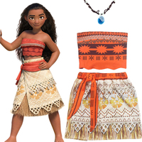 Children Moana Costume With Necklace Princess Moana Cosplay Costume Fancy Dress Bra Skirt Halloween Costumes For