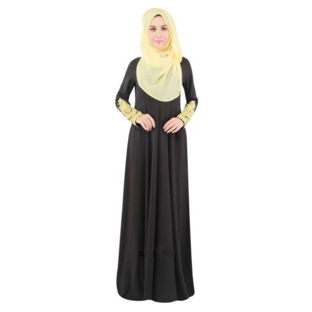 96acbaa8436 Women Lace Muslim Kaftan Islamic Long Sleeve Maxi Dress Arab Jilbab Abaya  Clothes