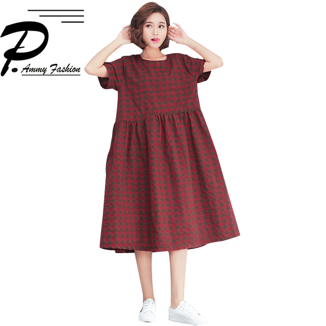 Women s Cotton Linen Plus Size Vintage Spell Color Plaid Mid-Long Dress  Lady voguees Hot 2018 Summer Short Sleeve Tunic Dress 257107815ac6