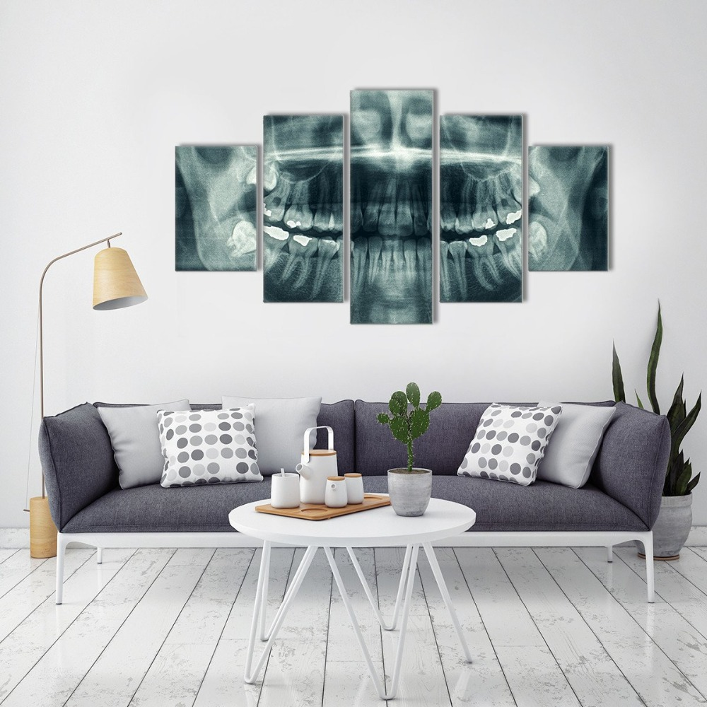 See Through Framed 5 Panels Canvas Print Painting Modern
