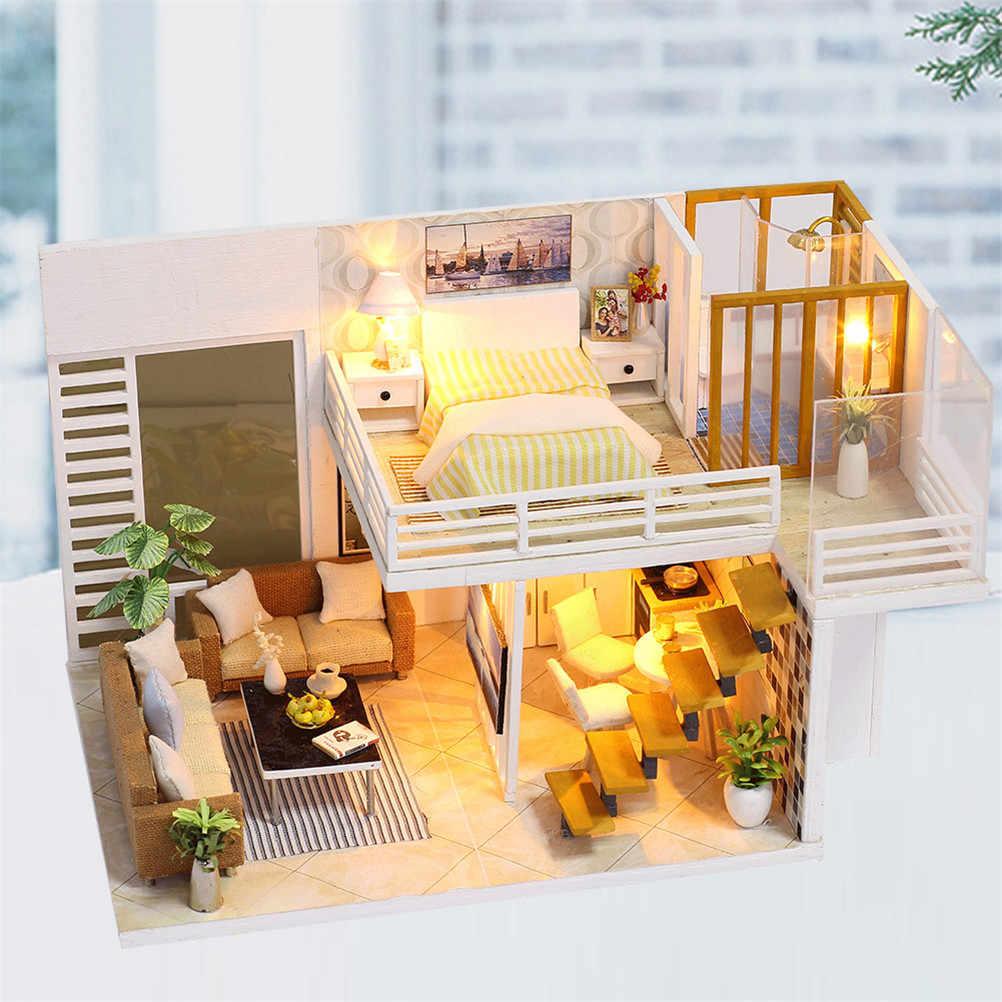 Миниатюрная кукольная мебель набор игрушек для детей Рождественский подарок DIY деревянный кукольный дом кукольные дома