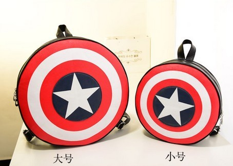 Marvels The Avengers captain America  shield Backpack Bag student round ends Agents of S.H.I.E.L.D