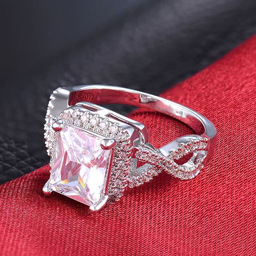 2016 New Lady Princess Cut Zircon Bague Wedding Party Promise Ring Us 6-8 C6TY