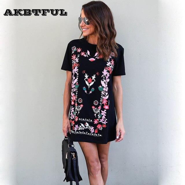 3b11c39981be 2017 New Ukraine Style flower print dress Womens Summer Bohemian T Shirt  Dress Black Vintage Short Sleeve Casual Loose Dresses