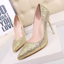 Free shipping spring women's paillette pointed toe high-heeled shoes thin heels shallow mouth single shoes