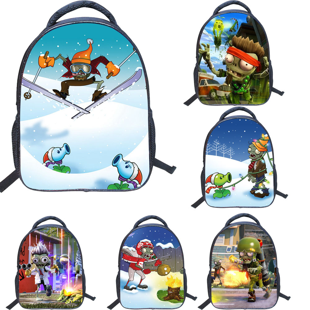 13 Inch Cartoon Backpack Plants VS. Zombies Shoulder Book Bag Printing School Bags For Kids Children Boys Girls Mochila Infant