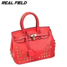 High Quality Famous Brand Women Handbag Lychee PU Synthetic Leather Luxury Women Rivet Bag Golden Lock 30 Designer Lady Purse 59