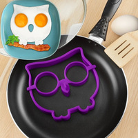kitchen cooking tool Silicone Rubber egg mold Non-stick Owl Shape Eggs Fried Frying Mould Pancake Egg Ring Shaper Mold