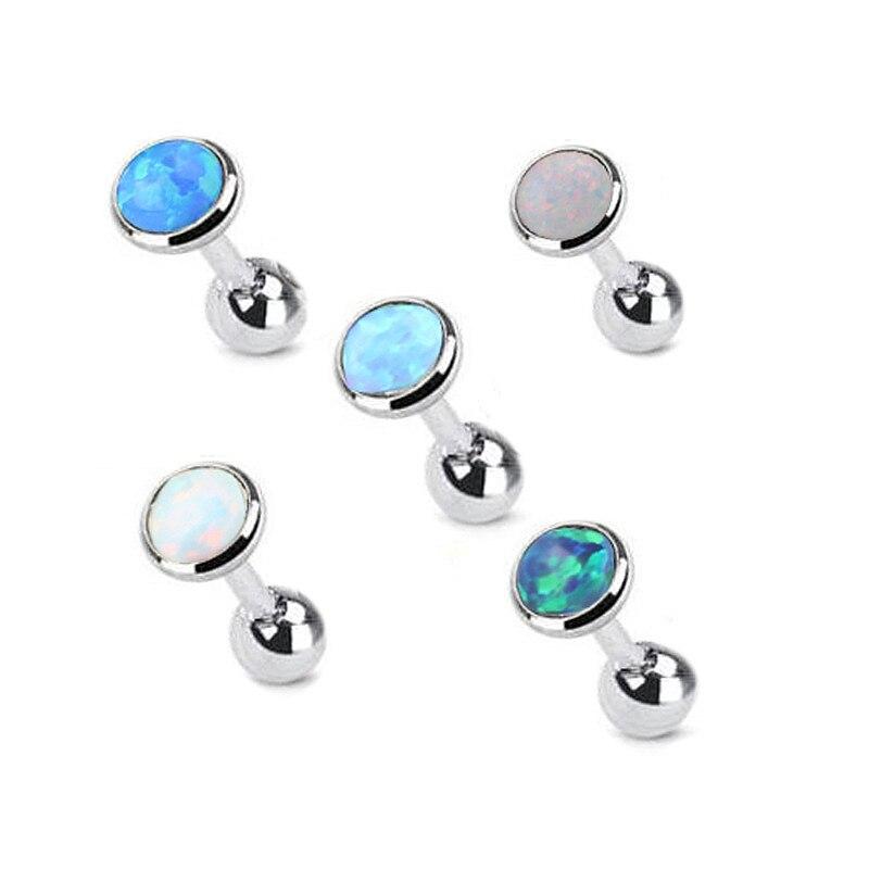 Labret Lip Opal-Earrings Ear-Piercing Tragus Surgical-Steel Cartilage Studs Jewelry Conch