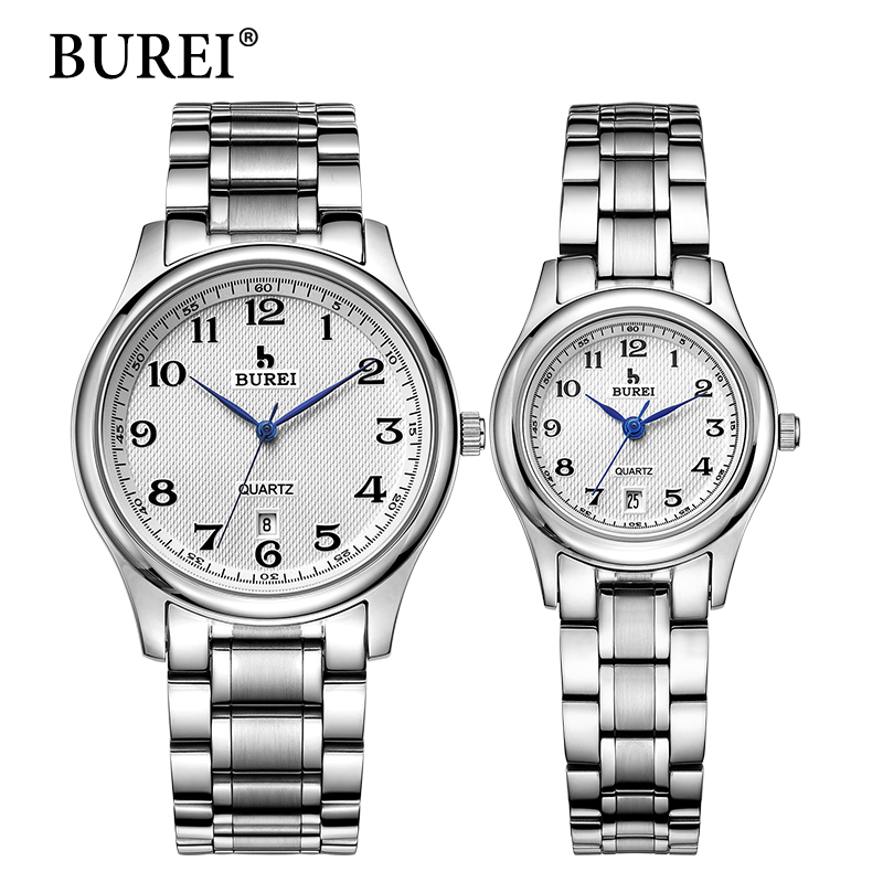 цена на BUREI Top Brand Men Women Dress Quartz Watch New Hand Couples Table Fashion Casual Clock Steel Band Wristwatches Hot Sale Gift