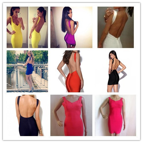 Factory Price Wholeslae Top Quality  New Bandage Dress Sexy Ladies Bodycon Mini  Dress Backless Mini Dress