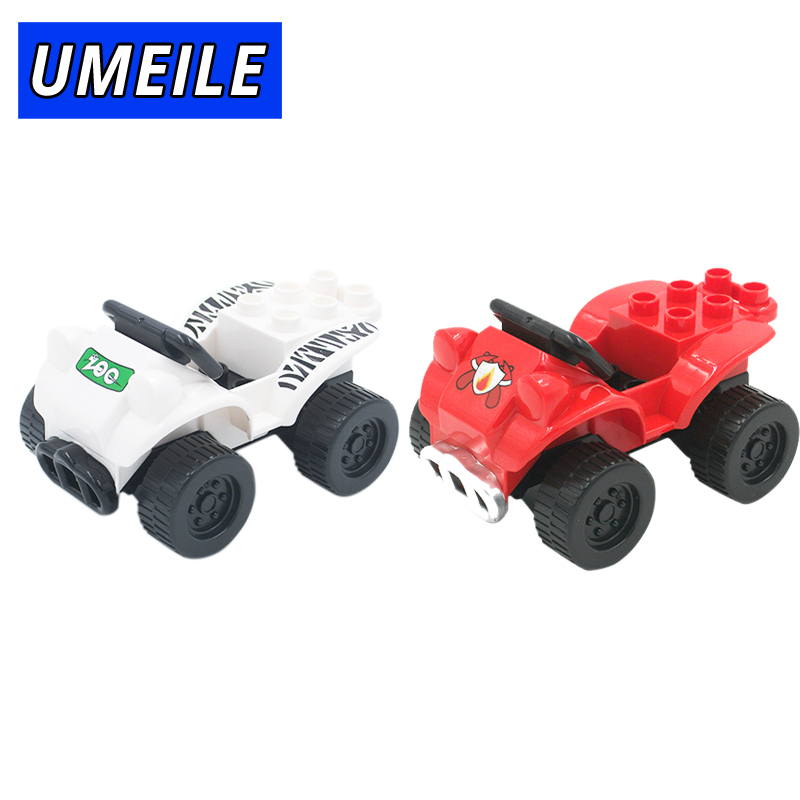 UMEILE Brand Original 2PCS/SET Zoo Car Fire Engine Jeep Model Big Building Block Baby Toys Boy Girl Gift Compatible with Duplo umeile original classic city engineering ladder truck fire engine model car block kids educational toys compatible with duplo