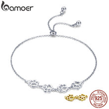 BAMOER New Arrival Genuine 925 Sterling Silver Animal Footprints Chain Bracelets for Women Valentines Day Jewelry Gift SCB096(China)