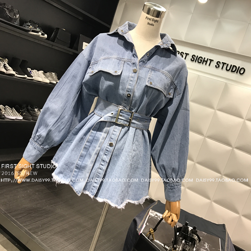 56b344f7313 2019 2018 Spring Denim Shirt Women New Retro Lapels Long Design Belt ...