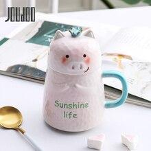 JOUDOO Cartoon Pink Ceramic Coffee Mug Cute Crown Pig Girl Mugs Cup School Home Office Tea Cups For Wholesale 35