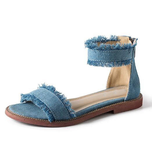 2017 newest denim blue flat sandal for woman sexy open toe ankle strap gladiator sandal Rome style cutouts sandal  2017 newest summer black brown leather sandal for woman sexy open toe flat crystal sandal sequins bead t strap buckle shoes