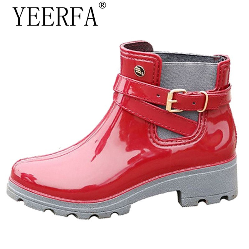 YEERFA Rain Boots 2017 Women Ankle Boots Casual Rubber Platform Shoes Woman Creepers Slip On Flats Fashion Rainboots size 36-41 yeerfa 2017 gladiator sandals gold silver shoes woman summer platform wedges glitters creepers casual women shoes size 35 40