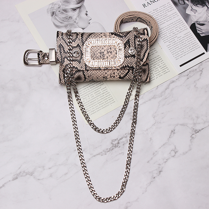 Luxury Brand Serpentine Fanny Bag Woman Leather Chain Waist Bags Belt Crystal Small Phone Pouch Bum Bags Fanny Pack Heuptas in Women 39 s Belts from Apparel Accessories
