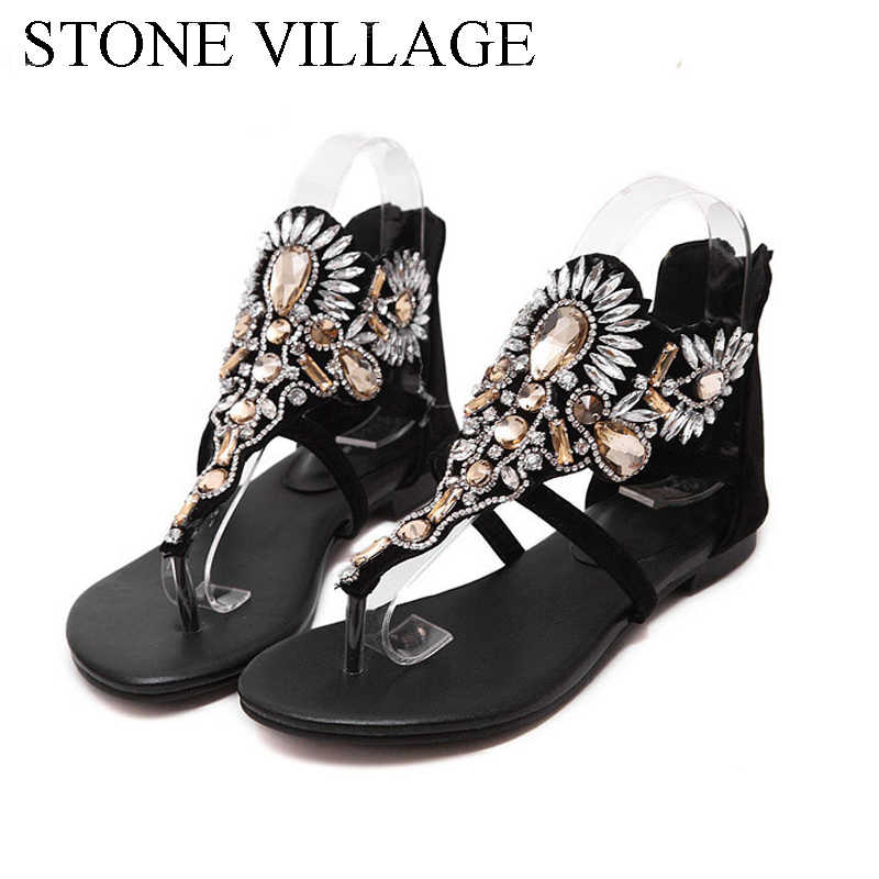 4bc5413c3d1709 Women Sandals 2018 Fashion Woman Summer Sandalias Flip Flops Hollow  Gladiator Sandalias Rhinestone Crystal Shoes Woman