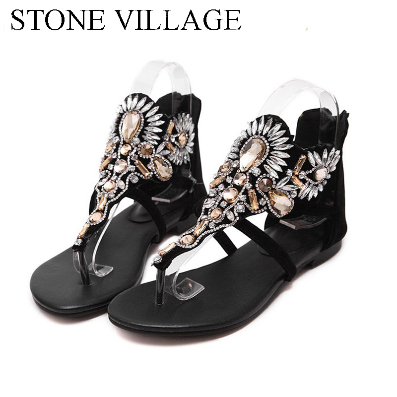 где купить Women Sandals 2018 Fashion Woman Summer Sandalias Flip Flops Hollow Gladiator Sandalias Rhinestone Crystal Shoes Woman по лучшей цене