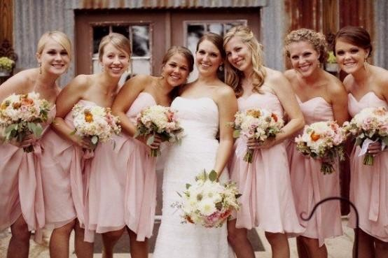 Short Bridesmaid Dresses Light Pink Green Yellow Brown Knee Length Party Dress